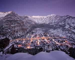 <p>Skies clear at twilight after several days of snow storms in Ouray, Colorado in the San Juan Mountains - December.</p>